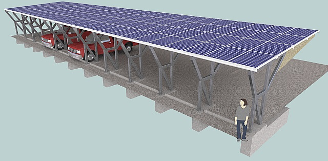 Solar Carport 3D CAD Model Using SketchUp